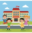 students group happy back school building vector image