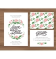 Wedding set with watercolor flowers and hand drawn vector image