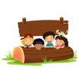 Kids on log vector image