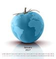 January 2017 tomato calendar vector image vector image