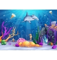the underwater world with a funny fish and vector image