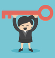 businessWoman is holding a key of success vector image