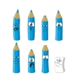 Cartoon emotional blue pencils set color 16 vector image