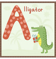 Cute Zoo Alphabet - Letter A with alligator vector image