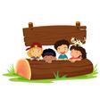 Kids on log vector image