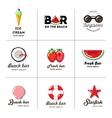 Set of nine logos for summer beach bar vector image