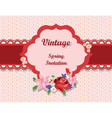 Vintage card with roses and spring flowers vector image