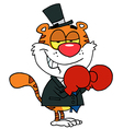 Happy Tiger With Boxing Gloves vector image