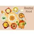 Healthy dishes with olives and cornichon icon vector image