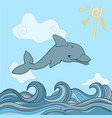 dolphins in blue sea wave vector image