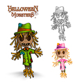 Halloween monster spooky scarecrows EPS10 file vector image