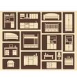 Flat furniture and interior icons vector image vector image