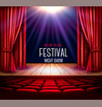 a theater stage with a red curtain and a vector image