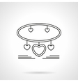 Bracelet with hearts flat line icon vector image