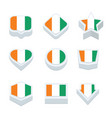 cote divoire flags icons and button set nine vector image