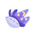 llama character sleeping in its bed at night cute vector image