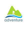 mountain hiking travel adventure logo vector image