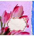 Vintage card Tulip on polka dot background EPS 10 vector image