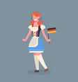 woman hold germany flag wearing traditional german vector image