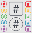 hash tag icon Symbols on the Round and square vector image