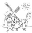happy kids and wind mill vector image vector image