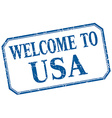 usa - welcome blue vintage isolated label vector image