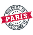 welcome to Paris red round vintage stamp vector image