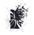cracked phone screen shatters into pieces broken vector image
