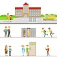 School Building Exterior And Kids In Its Corridors vector image