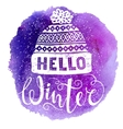 Hello winter text and knitted woolen cap on vector image