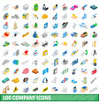 100 company icons set isometric 3d style vector image