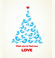 christmas wishes blue bird tree with heart on a vector image