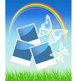 Rainbow and butterflies and photo frame vector image