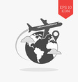 Airplane flying over globe icon travel with vector image