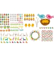 Big easter collection with eggsbirds and rabbits vector image