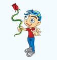 Boy with red rose vector image