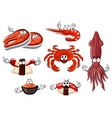 Cartoon seafood and animals characters vector image