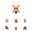 flat icon mill set of windmill propeller rural vector image