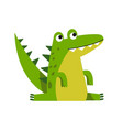 funny cartoon crocodile character sitting vector image