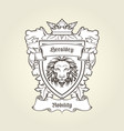 heraldic emblem - coat of arms with head of lion vector image