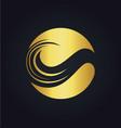 leaf round ecology gold logo vector image