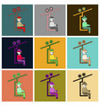 set of icons in flat design man on ski lift vector image