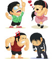 Emotion Set Eureka Love Angry Sad vector image