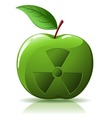 green apple with nuclear sing vector image vector image