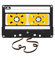 audio black cassette with damaged tape over white vector image vector image