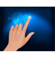 finger touching world map vector image vector image