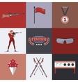Biathlon icons set Flat style design Target ski vector image