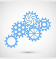 blue gears on grey background infographic concept vector image