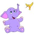 cute cartoon elephant and hummingbird vector image