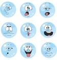 Emotion smiles blue color set 004 vector image